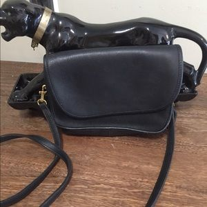 Coach black leather vintage crossbody bag